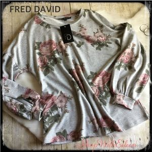 FRED DAVID Gray Floral Balloon Sleeve Top